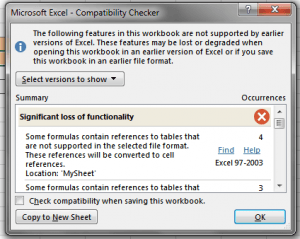 Microsoft Excel 2013 Features Compatibility Checker