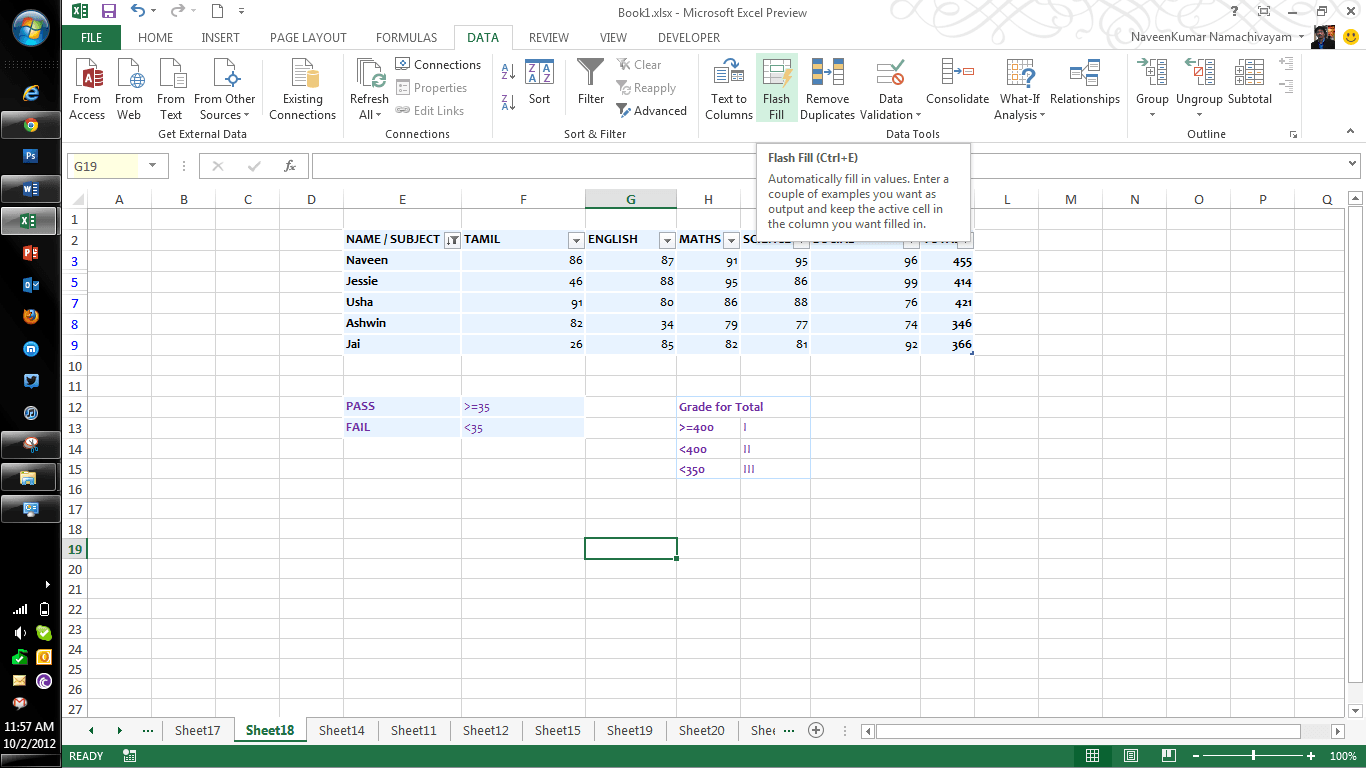 microsoft excel 2012 working