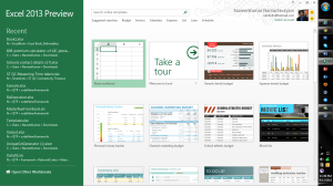 Microsoft Excel 2013 Features Home Screen