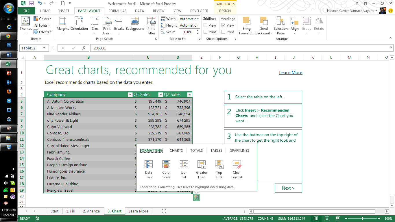 Microsoft Excel 2013 Features Part Three - QAInsights.com