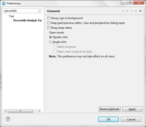 How to change percentile value in IBM Rational Performance Tester - Windows Preferences QAInsights