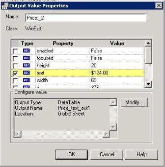How to insert Output Values in QTP?