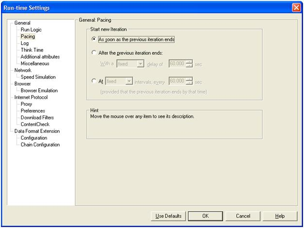 Runtime Settings - Pacing in LoadRunner