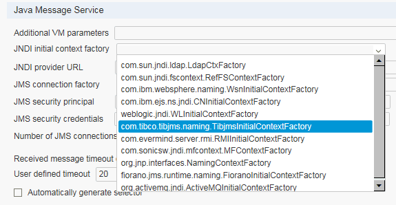 Initial Context Factory Settings in LoadRunner