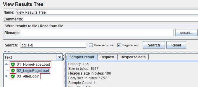 Apache JMeter 3.0 View Results Tree