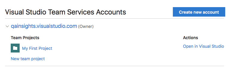 VSTS Account
