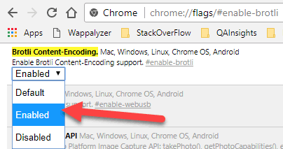 How to enable brotli in Google Chrome